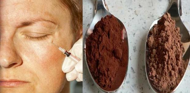 Kırışıklık giderici kakao maskesi yüz botoksu
