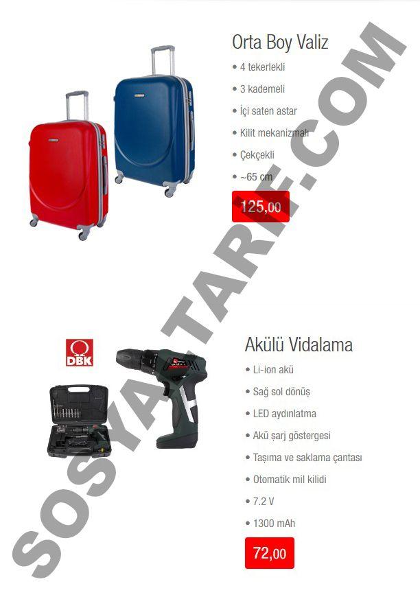 BİM kataloğunun 3. sayfasında orta boy 4 tekerlekli valiz 125 TL, akülü vidalama aleti ise 72 TL'lik fiyatı ile karşımıza çıkıyor.