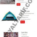 BİM 20 Mayıs kataloğunun 4. sayfasını incelersek, çift desenli çift kişilik nevresim takımı 39 TL, otomatik çadır 65 TL, şark kilim ise 11,50 TL'lik fiyatları ile karşımıza çıkıyor.