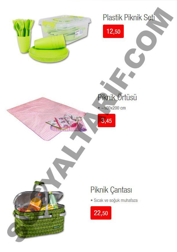 Kataloğumuzun 5. sayfasında piknik sezonunun açılması ile birlikte harika ürünlere yer verilmiş durumda. Piknik çantası 22,50 TL, plastik piknik seti 12,50 TL, piknik örtüsü ise 3,45 TL'ye 20 Mayıs'tan itibaren satışa sunulmayı bekliyor.