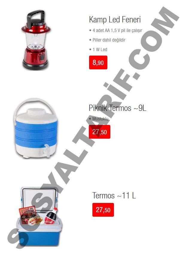 Kataloğun 7. sayfasında ise kamp feneri, 9L'lik piknik termos ve 11 L'lik termos uygun fiyatları ile 20 Mayıs'ta raflardaki yerini alacak.